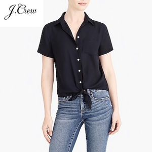 NEW J Crew Mercantile Black Button Tie Blouse